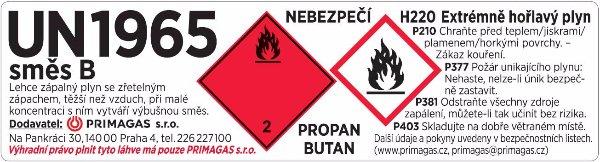 Označování plynových láhví PRIMAGAS